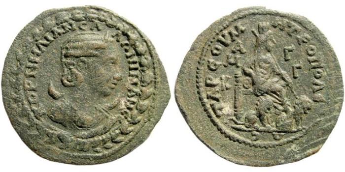 Ancient Coins - Kilikia, Tarsos. Salonina, wife of Gallienus. Augusta, 254-268 AD. AE 30mm (11.24 gm). SNG Levante 1198 (same dies)
