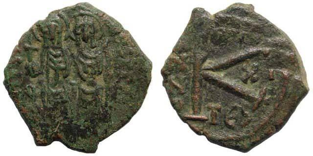 Ancient Coins - Justin II, 565-578 AD, AE Half Follis (22.13 mm, 6.41 gm). Thessalonica mint. Sear 366; DOC 83; MIB 70E