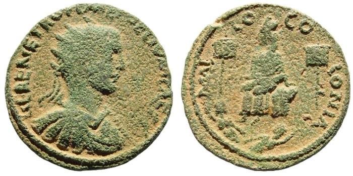 Ancient Coins - Cilicia, Mallus. Herennius Etruscus. 249-251 AD. AE 30mm (16.99 gm). SNG Levante 1295. Very rare