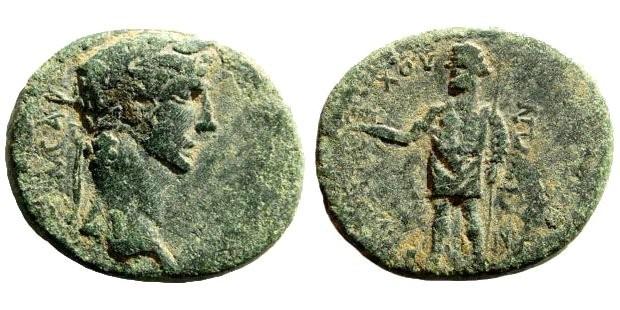 Ancient Coins - Phrygia, Aezani. Claudius I. 41-54 AD. AE 19mm (5.01 gm). Antiochos Metrogenes magistrate. RPC I, 3090