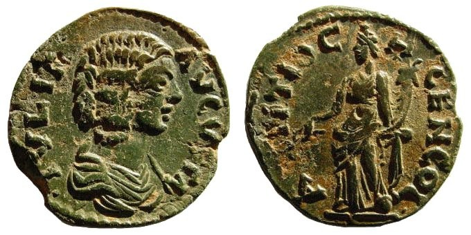 Ancient Coins - Pisidia, Antioch. Julia Domna, wife of Septimius Severus 193-211 AD. AE 22 (4.80 gm). SNG BN 1130