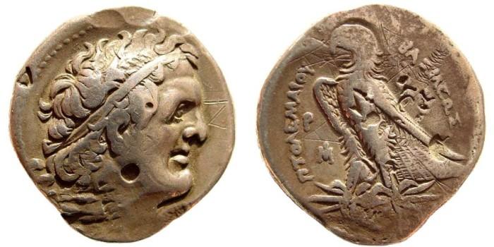 Ancient Coins - Ptolemaic Kingdom. Ptolemy I, Soter, 305-283 BC, AR Tetradrachm (13.95 gm, 30mm). Alexandria, ca. 292-290 BC. Svoronos 248; SNG Copenhagen 68; Noeske 19