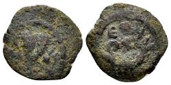 Ancient Coins - Judaea, Herodians. Herod Archelaus, 4 BCE-6 CE. AE Prutah (1.38 gm, 14mm). Jerusalem mint. Hendin 504