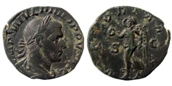 Ancient Coins - Philip I, 244-249 AD. AE Sestertius (15.82 gm, 29mm). Struck late 244 AD. RIC IV 192a