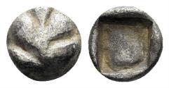Ancient Coins - Karia, Rhodes, Kamiros. Circa 500-460 BC. AR Hemiobol (0.40 gm, 7mm). SNG Keckman 340