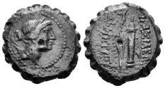 Ancient Coins - Seleukid Kingdom. Demetrios I. 162-150 BC. AE Serrate (8.11 gm, 21mm). Antioch mint. SNG Spear 1295-8
