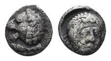 Ancient Coins - Karia, Mylasa. 420-390 BC. AR Tetartemorion (0.27 gm, 5.5mm). SNG Kayan 840