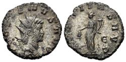 Ancient Coins - Gallienus. 253-268 AD. AE Silvered Antoninianus (3.50 gm, 19mm). Rome mint, 5th officina. Struck 265-267 AD. MIR 36