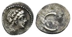 Ancient Coins - Spain, Emporion (?). End of 3rd century BC. AR Hemiobol or 1/12 Shekel (0.37 gm, 10mm). Villaronga, CNH 78,6