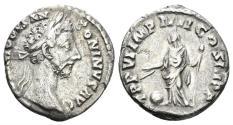 Ancient Coins - Commodus. 177-192 AD. AR Denarius (2.48 gm, 18mm). Rome mint. Struck 182 AD. RIC III 32