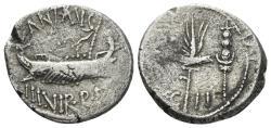 Ancient Coins - Mark Antony, 32-31 BC. AR Legionary Denarius (3.69 gm, 18mm). Patrae (?) mint. Crawford 544/14. LEG II