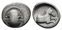 Ancient Coins - Boeotia, Tanagra. Early-mid 4th century BC. AR Obol (0.88 gm, 10mm). BCD Boiotia 266