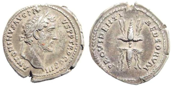 Ancient Coins - Antoninus Pius, 138-161 AD. AR Denarius (4.06 gm, 20mm). Rome mint. Struck 140-143 AD. RIC III 80a