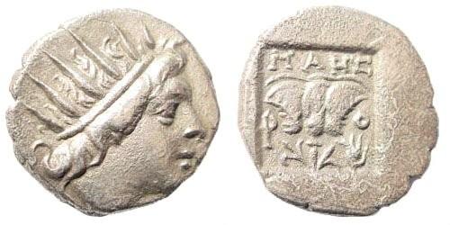 Ancient Coins - Karia, Islands off, Rhodes. Circa 88-84 BC. AR Plinthophoric Drachm (1.98 gm, 19mm). Helsinki I 686