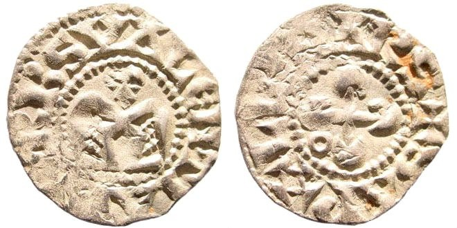 Ancient Coins - France, Valence. Bishops of Valence, 1157-1276 AD. AR Denier (0.9 gm, 18mm). Poey d'Avant 4690; Metcalf (Coinage of Latin East) 39