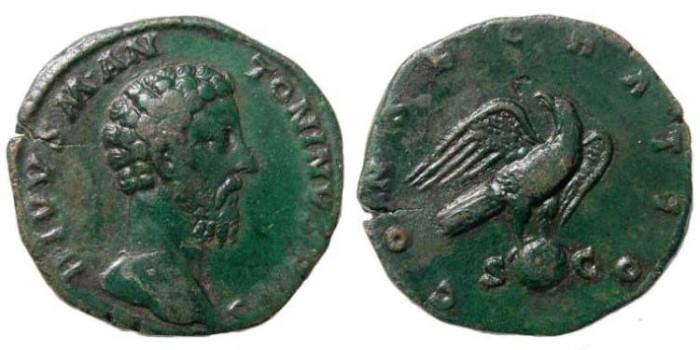Ancient Coins - Marcus Aurelius, 161-180 AD. AE Sestertius (25.71 gm).  Posthumous, struck under Commodus, AD 180. RIC 441, 654. Cohen 89