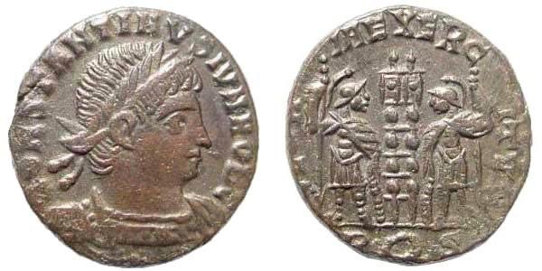 Ancient Coins - Constantine II, as Caesar, 317-337 AD. AE Follis (2.78 gm, 16mm). Rome mint, 336 AD. RIC VII 383