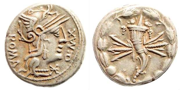 Ancient Coins - Q. Fabius Maximus, 127 BC. AR Denarius (3.95 gm, 18mm). Crawford 265/1; Sydenham 478; Babelon (Fabia) 5; BMCRR Rome 1157