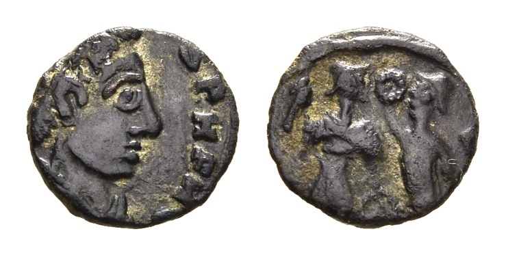 Ancient Coins - Barbaric Imitation of Roman Constans Victory crowning Emperor Type. 4th century AD. AE 12mm (0.91 gm)