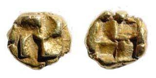 Ancient Coins - Ionia, Uncertain. Circa 600-550 BC. EL 1/24th Stater (0.64 gm). SNG Kayhan 702; SNG von Aulock 1778