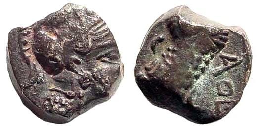 Ancient Coins - Palestine, 4th century BC. AR Obol (0.73 gm, 8mm). SNG ANS 17