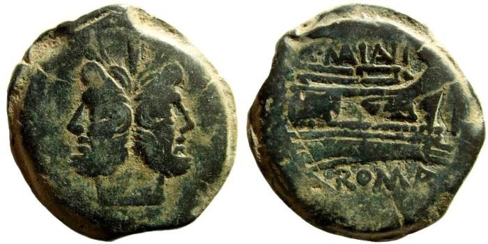 Ancient Coins - C. Maianius, 153 BC. AE As (20.74 gm). Rome mint. Crawford 203/2; Sydenham 428; BMC 439