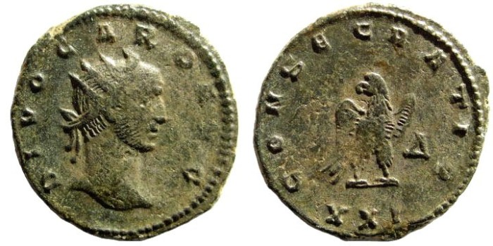 Ancient Coins - Divus Carus. Died 283 AD. AE Antoninianus (3.77 gm, 21mm). Consecration issue. Siscia mint, 4th officina. RIC V 113