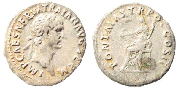 Ancient Coins - Trajan, 98-117 AD. AR Denarius (2.82 gm, 19mm). Struck 98-99 AD. RIC II 21; RSC 288