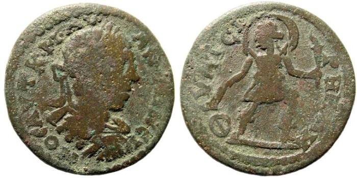 Ancient Coins - Lydia, Thyateira. Elagabalus, 218-222 AD. AE 26mm (7.15 gm). BMC 118 (same dies)
