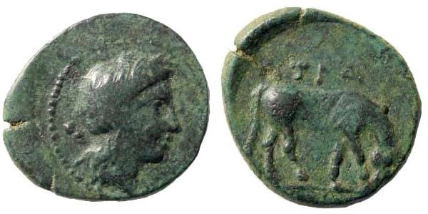Ancient Coins - Thessaly, Atrax. Mid 4th century BC. AE Chalkous (2.51 gm, 17mm). BCD Thessaly II 58.11