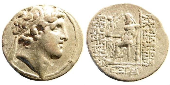 Ancient Coins - Seleukid kings, Alexander I Balas. 150-145 BC. AR Tetradrachm (16.48 gm, 29mm, 12h). Antioch mint. Dated SE 165, 148-147 BC. SNG Spear 1428