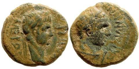 Ancient Coins - Lydia, Sardis. Nero, 54-68 AD. AE 15mm (3.15gm). Mindios Strategos ca. 60 AD. RPC I, 3002