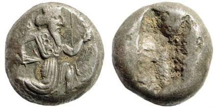 Ancient Coins - Achaemenid Kings, ca. 375-340 BC, AR Siglos (5.21 gm, 15mm). Carradice, Taf. XV, 46