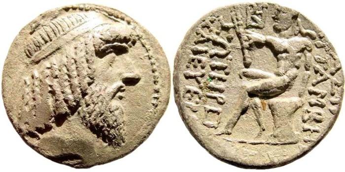 Ancient Coins - Characenian Kingdom. Attambelos I. 47/46-25/24 BC. BI Tetradrachm (11.91 gm, 28mm, 11h). Charax-Spasinu mint. Hill, Attambelos Series C