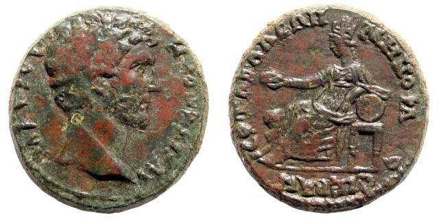 Ancient Coins - Lydia, Tabala. Marcus Aurelius, as Caesar under Antoninus Pius. AE 24mm (8.96 gm). Menophantes, 139 – 161 AD. BMC 288, 4. Rare