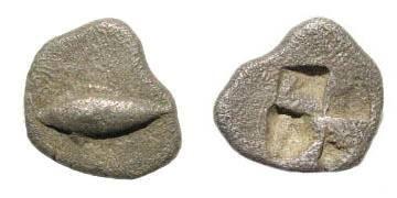 Ancient Coins - Mysia, Kyzikos, ca. 550-530 BC, AR Obol (0.58 gm, 10mm). Klein 261; SNG von Aulock 7325
