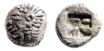 Ancient Coins - Ionia, Kolophon. Circa late 6th Century BC. AR Tetartemorion (0.17 gm, 5mm). SNG Kayhan 343