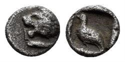 Ancient Coins - Ionia or Karia, uncertain mint. Miletos (?). 420-390 BC. AR Tetartemorion (0.25 gm, 6mm). SNG Kayan 941