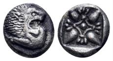 Ancient Coins - Ionia, Miletos. Late 6th-early 4th century BC. AR 1/12th Stater (1.14 gm, 9mm). SNG Helsinki II, 264; SNG Kayhan 468-75