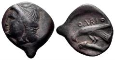 Ancient Coins - Skythia, Olbia. Circa 400- 350 BC. AE 17mm (2.98 gm). SNG BM Black Sea 402