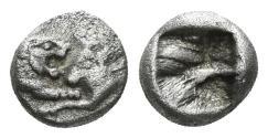 Ancient Coins - Lydian Kingdom, Sardeis. Kroisos, 561-546 BC. AR 1/24th Stater (0.43 gm, 6mm). SNG von Aulock 2880
