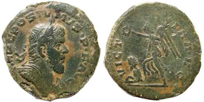 Ancient Coins - Postumus, 259 – 268 AD. AE Sestertius (18.80 gm, 30mm). Lugdunum mint, 259-268 AD. Cohen 286; RIC 234