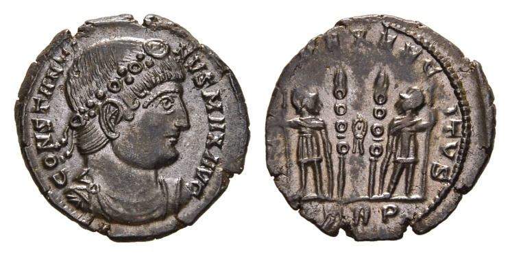 Ancient Coins - Constantine I, 307-337 AD. AE Follis (2.72 gm, 19mm). Trier mint, 1st officina. 330-335 AD. LRBC 72