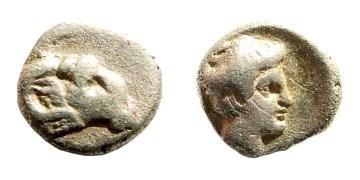 Ancient Coins - Caria, uncertain, first half 4th century BC, AR Persic Hemiobol (0.35 gm, 7mm). SNG Helsinki I, 884