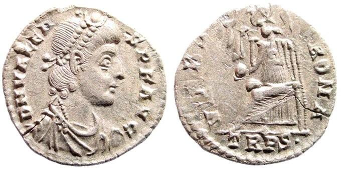 Ancient Coins - Valens. AD 364-378. AR Siliqua (1.8 gm, 18mm). Treveri (Trier) mint, circa 367-378. RIC IX 27b