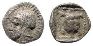 Ancient Coins - Lesbos, Methymna. Circa 500-450 BC. AR Hemiobol (0.35 gm). Unpublished. Extremely rare