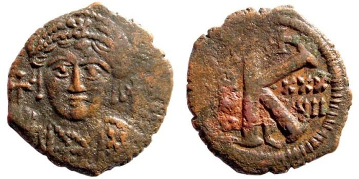 Ancient Coins - Justinian I, 527-565 AD. AE Half Follis (7.0 gm, 28mm). Antioch mint, year 38 = 564-565 AD. Sear 231; MIBE 155d