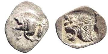 Ancient Coins - Mysia, Kyzikos. Circa 510-475 BC. AR Hemiobol (0.36 gm, 10mm). SNG France 375; SNG Kayan 56; Klein 265