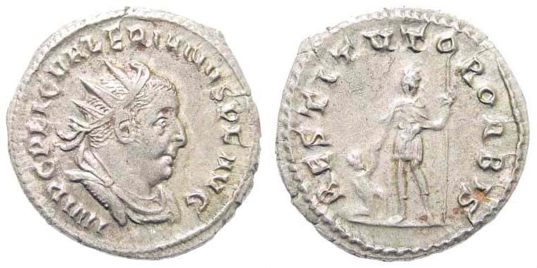 Ancient Coins - Valerian I, 253-260 AD. AE Antoninianus (3.43 gm, 21mm). Rome mint. RIC 117