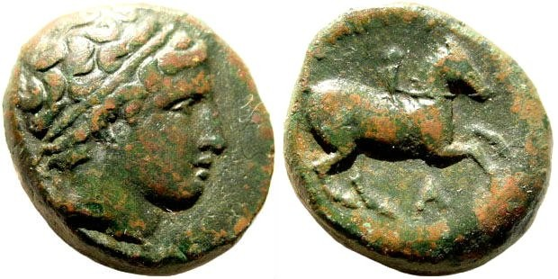 Ancient Coins - Macedonian Kings. Philip II, 359-336 BC. AE 18mm (6.6 gm). Uncertain mint. SNG ANS 894